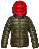 Moncler Mir Hooded Lightweight Down Puffer Jacket, Olive, Size 4-6