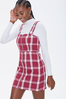 Forever 21 Plaid Zippered Overall Dress