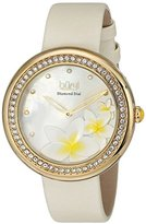 Burgi Women's BUR116WT Diamond Accented White Mother-of-Pearl Beige Strap Watch