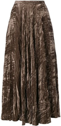 Yves Saint Laurent Pre Owned Crushed Velvet Maxi Skirt