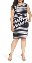 Adrianna Papell Plus Size Women's Stripe Body-Con Dress