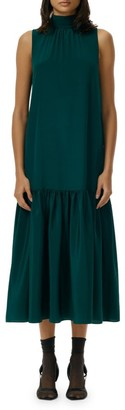 Tibi Eco Silk Dropped-Waist Midi Dress