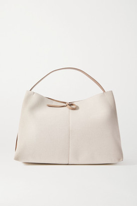 Wandler Ava Large Leather-trimmed Canvas Tote - White