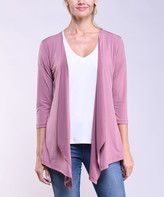 Lbisse Women's Open Cardigans Mauve - Mauve Drape-Front Three-Quarter Sleeve Cardigan - Women