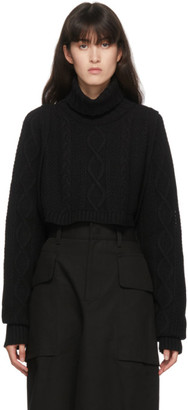 Y's Ys Black Wool Alan Knit Short Turtleneck