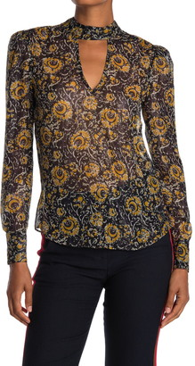 Veronica Beard Wade Floral Metallic Cutout Blouse