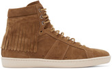 Saint Laurent Tan Fringed Court Classic High-Top Sneakers
