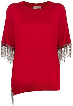 Twin-Set Short Sleeve Embellished Top