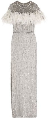 Jenny Packham Feather-trimmed Embellished Tulle Gown
