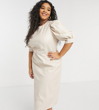 ASOS DESIGN Curve leather look puff sleeve pencil skirt midi dress in stone