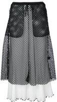 G.V.G.V. mesh layered ribbed skirt - women - Cotton/Polyester - XS