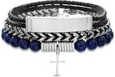 Lapis Stainless Steel Cross Charm Stretch Blue Bead Bracelet, Curb Chain Bracelet, & Black Braided Leather Bracelet Trio Set
