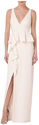 ML Monique Lhuillier Sleeveless Crepe Gown w/ Peplum Ruffle Detail (Shell) Women's Dress