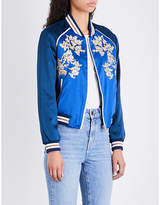 Maje Ladies Blue Classic Bichon Floral-Embroidered Satin Jacket