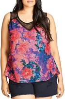 City Chic Pixel Rose Print Top