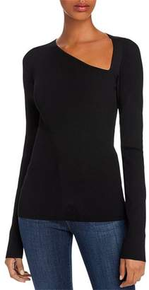 Helmut Lang Asymmetric Ribbed Knit Pullover Top