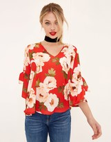 Girls On Film V Neck Floral Blouse