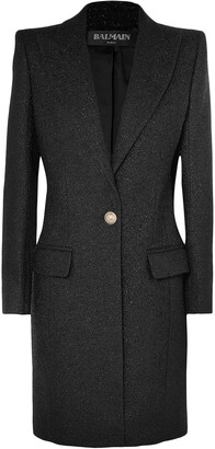 Balmain Button-embellished Metallic Wool-blend Coat