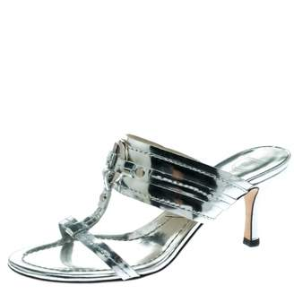 Christian Dior Silver Patent leather Sandals