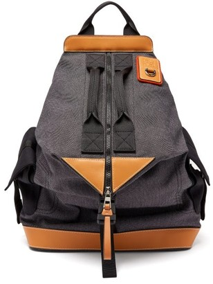 eye/LOEWE/nature Leather-trimmed Canvas Backpack - Black