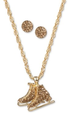 Charter Club Gold-Tone Pave Ice Skate Pendant Necklace & Stud Earrings Set, Created for Macy's