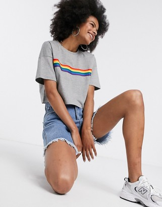 Noisy May cropped t-shirt with rainbow stripe in grey
