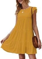 Thumbnail for your product : Kirundo 2021 Womens Summer Mini Dress Sleeveless Ruffle Sleeve Round Neck Solid Color Loose Fit Short Flowy Pleated Dress (Dark Yellow s)