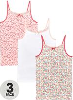 Very Girls Floral, Heart and Plain Vests (3 Pack)