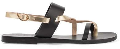 Ancient Greek Sandals Alethea Metallic Leather Slingback Sandals - Black