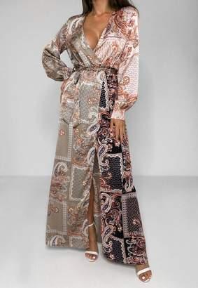 Missguided Rust Paisley Print Tie Belt Maxi Dress