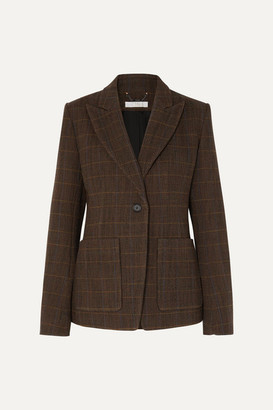 Chloé Checked Wool-blend Blazer - Brown
