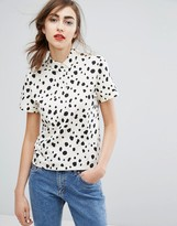 People Tree Organic Cotton Polo Top In Dalmatian Print