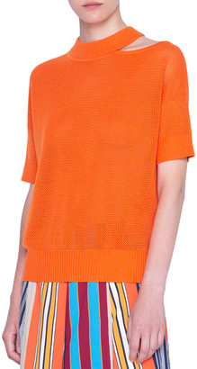 Akris Punto Mesh Knit Merino Wool Sweater with Luna Shoulder Cutout