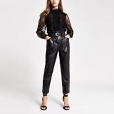 River Island Womens Petite Black faux leather belt peg trousers