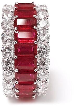 Bayco Platinum Diamond, Ruby And Emerald Ring