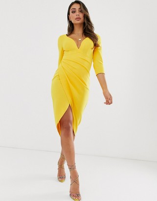 Laced In Love wrap midi scuba dress in yellow
