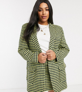 ASOS DESIGN Curve neon boucle suit dad blazer
