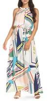 Adrianna Papell Women's Stripe Maze Pleated Maxi Dress