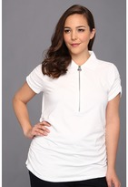 MICHAEL Michael Kors Plus Size S/S Charlie Front Zip Ruched Polo Top (White) - Apparel
