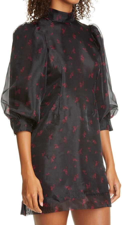 Thumbnail for your product : Ganni Floral Print Organza Short Shift Dress