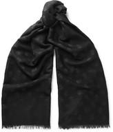 Alexander McQueen Wool And Silk-blend Skull Jacquard Scarf - Black