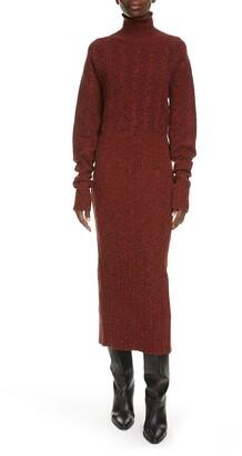 Kenzo Rib Long Sleeve Wool & Cotton Midi Sweater Dress