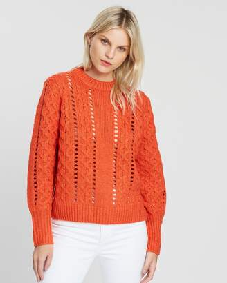 Maison Scotch Crew Neck Knit with Special Cable Stitches