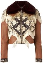 Alexander McQueen embroidered jacket - women - Lamb Skin/Mink Fur/Nylon/Lamb Fur - 42