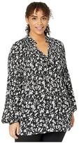 Lauren Ralph Lauren Plus Size Georgette Tie Neck Top (Polo Black/Silk White) Women's Clothing