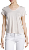 Vince Rounded V-Neck Jersey Tee, New Buff