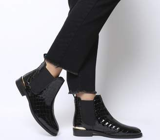 Office Bramble Chelsea Boots Black Patent Croc Leather With Metal Hardware
