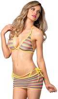 Leg Avenue Women's Net Rainbow Striped Bikini Top G-String Mini Skirt 3 Pieces