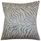 "The Pillow Collection Helaine Zebra Print Pillow Slate 18""x18"""