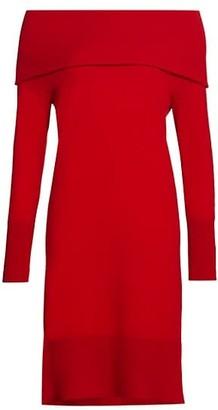 Akris Punto Off-The-Shoulder Wool & Cashmere Knit Dress
